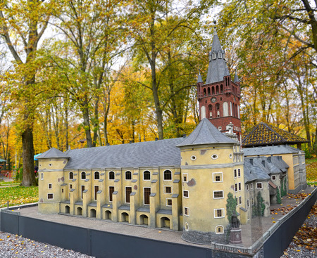 KALININGRAD, RUSSIA - OCTOBER 19, 2019: A view of the layout of the Royal Kenigsberg Castle in South Park. Miniature Park History in Architecture