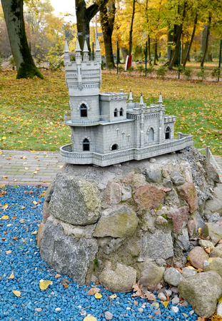 KALININGRAD, RUSSIA - OCTOBER 19, 2019: The layout of the Lastochkino Nest Castle in South Park. History in Architecture Miniature Park