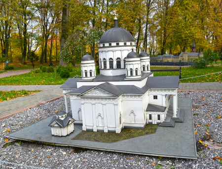 KALININGRAD, RUSSIA - OCTOBER 19, 2019: Spassky Old Fair Cathedral in Nizhny Novgorod. South Park layout. History in Architecture Miniature Park
