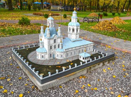 KALININGRAD, RUSSIA - OCTOBER 19, 2019: St. Pokrovsky Cathedral in Krasnoyarsk. South Park layout. History in Architecture Miniature Park Sajtókép