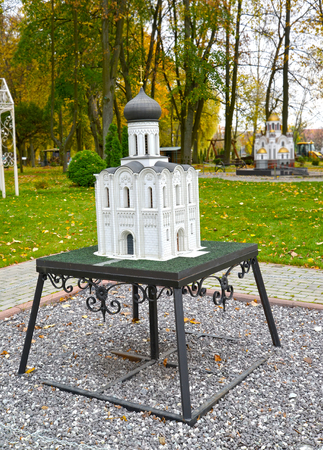 KALININGRAD, RUSSIA - OCTOBER 19, 2019: Church of Cover on Nerley in Bogolyubov. South Park layout. History in Architecture Miniature Park