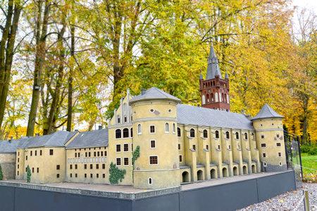 KALININGRAD, RUSSIA - OCTOBER 19, 2019: Royal Kenigsberg Castle. South Park layout. Miniature Park History in Architecture Sajtókép