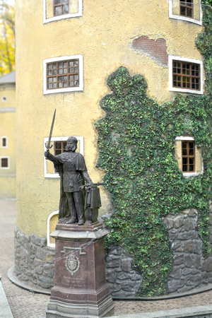 KALININGRAD, RUSSIA - OCTOBER 19, 2019: Monument to Friedrich Wilhelm I background the royal castle of Kenigsberg. South Park layout. History in Architecture Miniature Park
