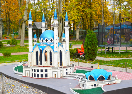 KALININGRAD, RUSSIA - OCTOBER 19, 2019: Kazans Kul Sharif Mosque in South Park. History in Architecture Miniature Park
