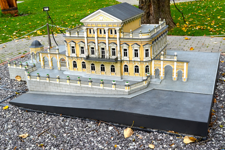 KALININGRAD, RUSSIA - OCTOBER 19, 2019: Layout of Perm Museum of Local History (house of steamer Meshkov). History in Architecture Miniature Park. South Park