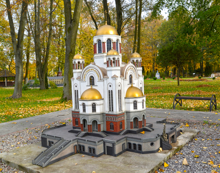 KALININGRAD, RUSSIA - OCTOBER 19, 2019: A layout of a temple on Blood in Yekaterinburg. South Park. History in Architecture Miniature Park Sajtókép