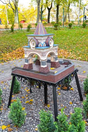 KALININGRAD, RUSSIA - OCTOBER 19, 2019: Nicholas triumphal gate in Vladivostok. South Park layout. History in Architecture Miniature Park