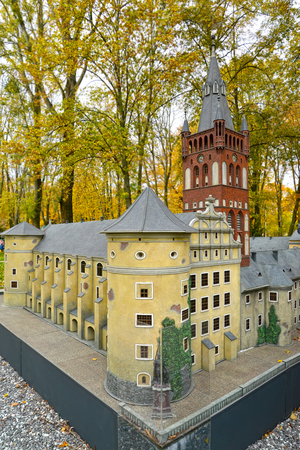 KALININGRAD, RUSSIA - OCTOBER 19, 2019: Layout Royal Kenigsberg Castle in South Park. Miniature Park History in Architecture