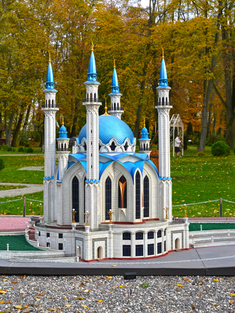KALININGRAD, RUSSIA - OCTOBER 19, 2019: Kazan Cathedral Mosque Kul Sharif. South Park. History in Architecture Miniature Park