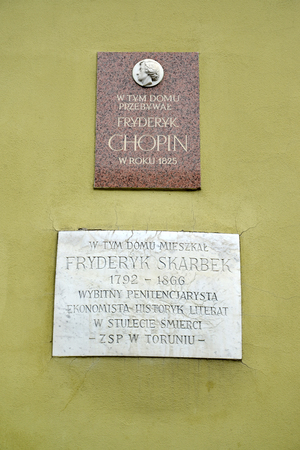 TORUN, POLAND - AUGUST 25, 2018: Memorial boards on the building wall