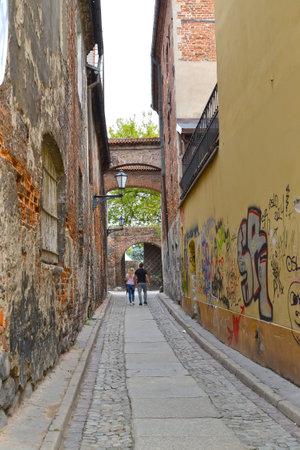 Narrow Old Town Street. Torun, Poland