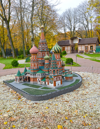 KALININGRAD, RUSSIA - OCTOBER 19, 2019: Basil the Blessed Temple in Moscow. South Park layout. History in Architecture Miniature Park