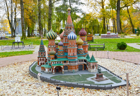 KALININGRAD, RUSSIA - OCTOBER 19, 2019: Basil the Blessed Cathedral in Moscow. South Park layout. History in Architecture Miniature Park