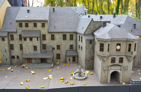 KALININGRAD, RUSSIA - OCTOBER 19, 2019: A snippet of the Royal Kenigsberg Castle layout in South Park. History in Architecture Miniature Park