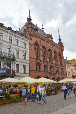 TORUN, POLAND - AUGUST 25, 2018: A view of Artus Court Culture Centre in the old city Sajtókép