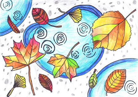 Multicolored autumn leaves lie on puddles. Children s drawing, mixed technique