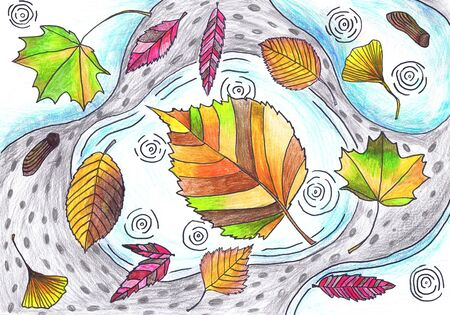 Colored autumn leaves lie on puddles. Children s drawing, mixed technique