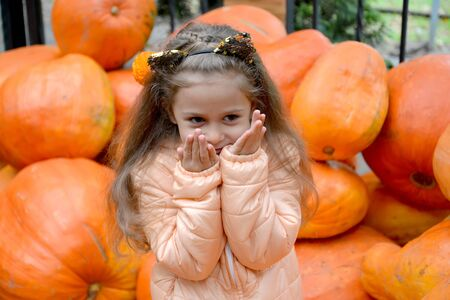 Portrait of a five-year-old girl with her hands pressed to her face against the background of pumpkin. Autumn Harvest