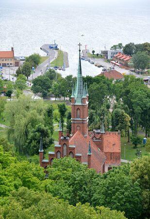 Top view of St. Vojciech s Church and Vislin Bay. Frombork, Poland