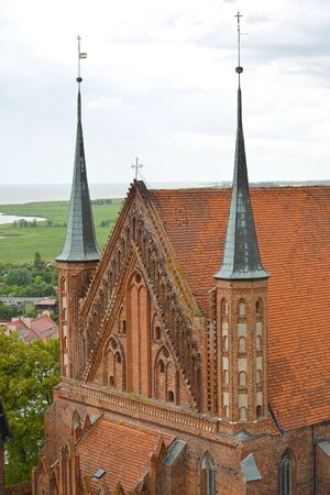Fragment of the Cathedral of the Ascension of the Holy Virgin Mary and St. Apostle Andrei the First-Called from the height of the bird s flight. Frombork, Poland