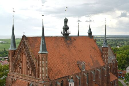 The upper part of the building of the Cathedral of Ascension of the Holy Virgin Mary and St. Apostle Andrei the First-Called from the height of the bird s flight. Frombork, Poland