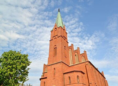 Bell Tower of the Church of the Holy First-hand Apostles Peter and Paul (Kirch of Lazdenen, 1875). Krasnoznamensk, Kaliningrad region Stock fotó