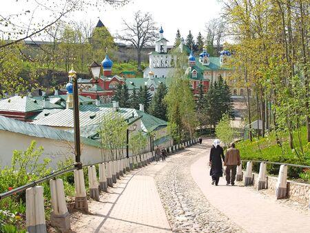 View of Pskov- Pechorsky Saint-Assumption Men s Monastery. Pskov Region Stock fotó