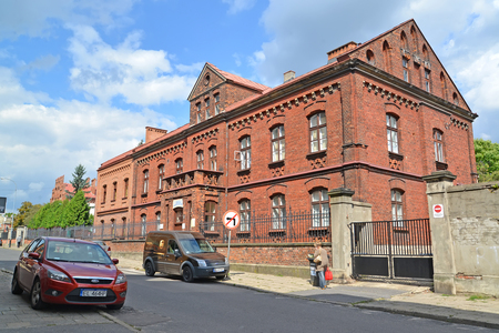 LODZ, POLAND - AUGUST 25, 2014: Former criminal police building (Red House or Kripo) Jewish ghetto Editöryel