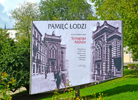 LODZ, POLAND - AUGUST 25, 2014: Stand with information on the old Alta shil synagogue. Polish text - Memory of Lodzi