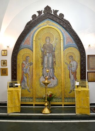 Altar icon with the image of Our Lady-Intercede, St. Nicholas, St. Panteleimon. Chapel of the Holy Great Martyr Healer Panteleimon in the Cathedral building. Kaliningrad