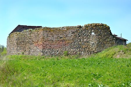 Remains of the fortress walls of Shaaken Castle, 13th century. Kaliningrad region Stock Photo
