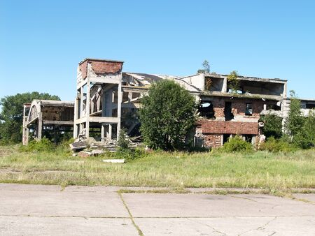 The ruins of the structures of the old German airfield Noitif. Baltiysk, Kaliningrad region