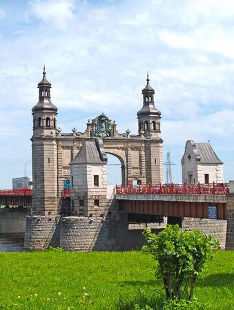 Queen Louise Bridge over the Neman River. Sovetsk, Kaliningrad region Stock Photo