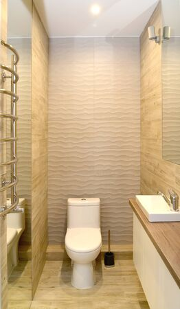 General view of the bathroom in the style of eco-minimalism Stock Photo