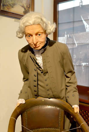 KALININGRAD, RUSSIA - JULY 08, 2020: The wax figure of Immanuel Kant in the exposition of the Museum of the World Ocean