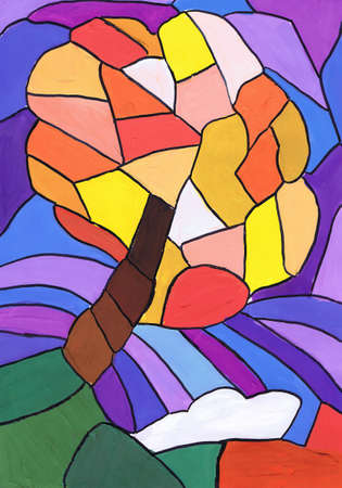 Bright abstract tree. Sketch a stained glass window. Children's drawing Reklamní fotografie