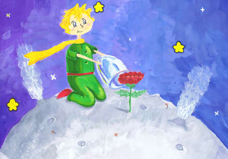 """Illustration of the story-tale of Antoine de Saint-Exupéry """"The Little Prince."""" Children's drawing"""