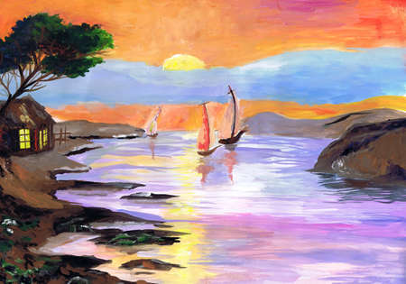 Beautiful seascape with yachts at sunset. Children's drawing