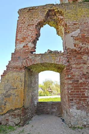 Fragment of the ruins of Shaaken Castle, XIII century. Kaliningrad region Stock Photo