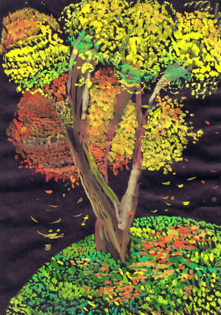 Colorful autumn tree on a black background. Children's drawing