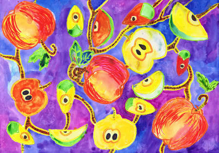 Print for fabric with apples on a lilac background. Children's drawing, mixed technique Stockfoto