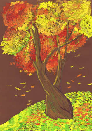 Lonely autumn tree using pointillism technique. Child's drawing