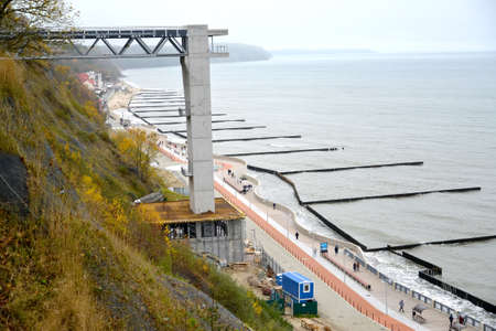 Construction of an elevator lift on the Baltic Sea. Svetlogorsk, Kaliningrad region