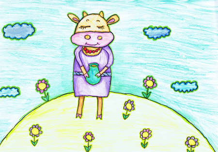 A cow with a covered milk stands in a flower meadow. Children's drawing