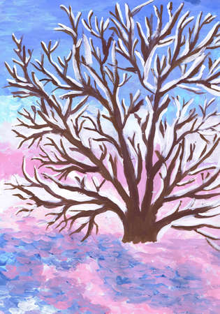 A spreading tree in the morning dawn. Winter landscape. Children's drawing