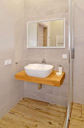 Overhead washbasin in a modern bathroom. Ecominimalism