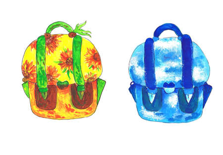 Backpack models in warm and cold colors. Child's drawing