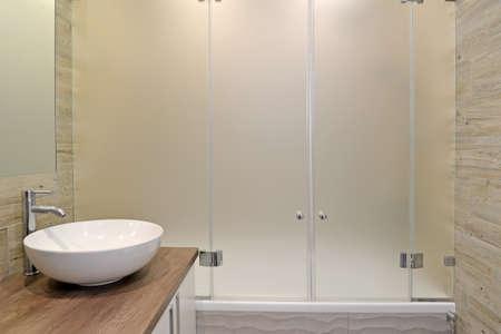 Overhead washbasin in the bathroom. Ecominimalism Banco de Imagens