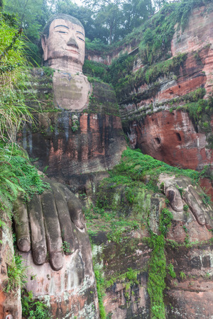 largest: The largest buddha statue directly built on the hill in Leshan, Sichuan Province, China