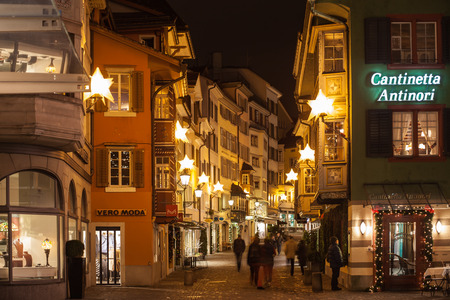 night before christmas: Zurich, Zurich Canton, Switzerland - December 6, 2014: The Night view of Augustinergasse before Christmas in Zurich